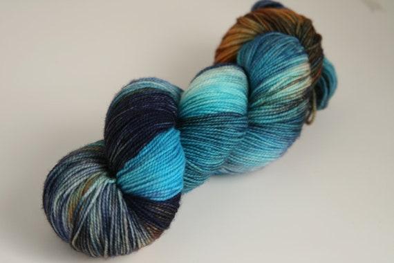 """Handpainted 100% Superwash Sock Yarn """"Mineral Springs"""" -- Granite Sock"""