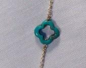 Turquoise & Gold Quatrefoil Necklace