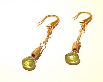 Green Peridot Egyptian Gold Droplet Earrings