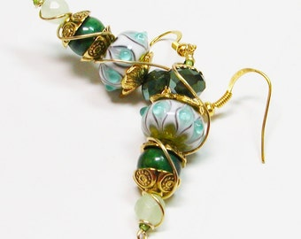 Wire Wrapped Lamp Work Earrings, Crystal and Lamp Work Earrings, Turquoise and Green Wire Wrapped earrings