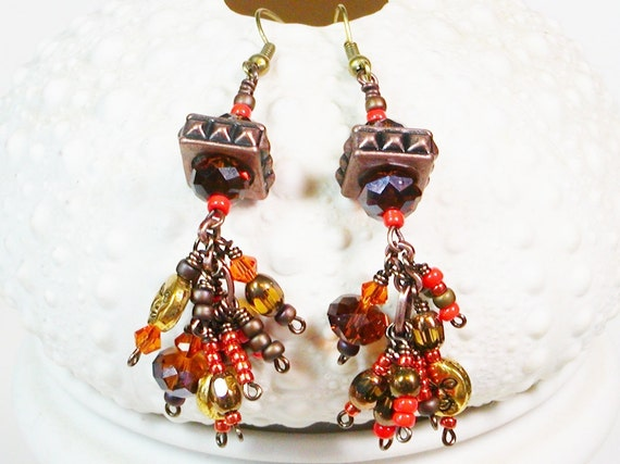 Copper Earrings, Wire Wrapped, Crystal and Sun