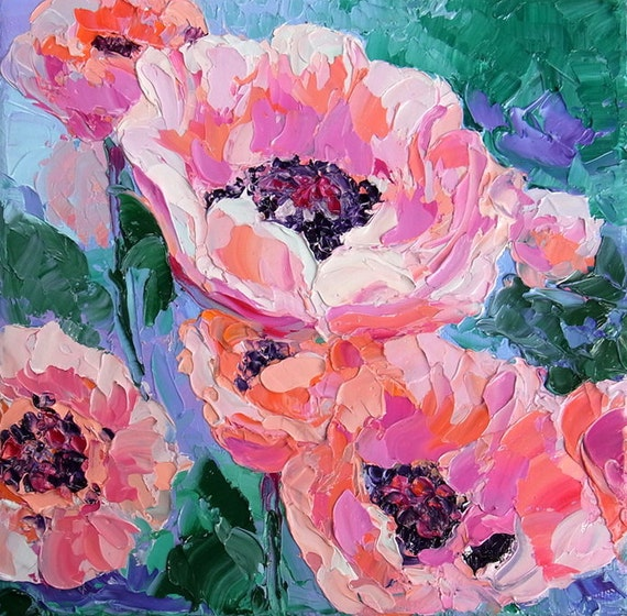 """Original Flower Textured Palette Knife Oil  Painting on small 8x8"""" Canvas, Peach Poppies by NuFineArt5 FREE SHIPPING"""