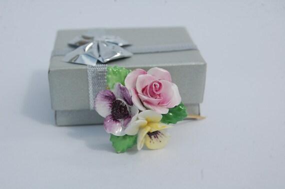 Floral Brooch, Vintage Royal Adderley  Bone China Made in England