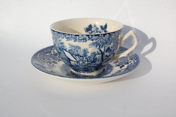 VINTAGE Tea Cup Broadhurst England Blue, English Tea Time