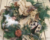 Christmas  Wreath Santa With Cowboy  Hat, Chaps, Barbed Wire Greenery Ready to Hang On Wire