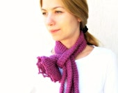 Berry long Skinny Scarf with Exotic Flower /Maroon Red Scarf/ Fashion fuchsia Scarf / europeanstreetteam