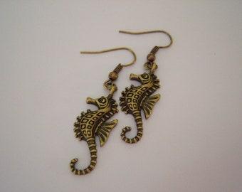 Antiqued Bronze Sea Horse Earrings