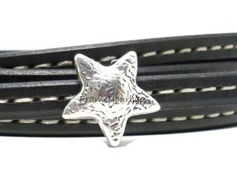 6 X licorice leather finding large Star -Silver color ( ZK175)