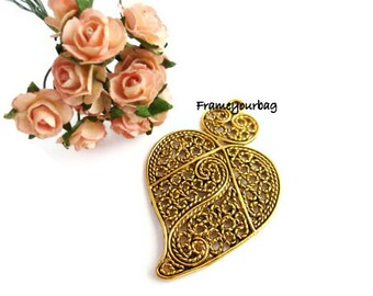 Pendant heart  Antiqued gold 40X62mm