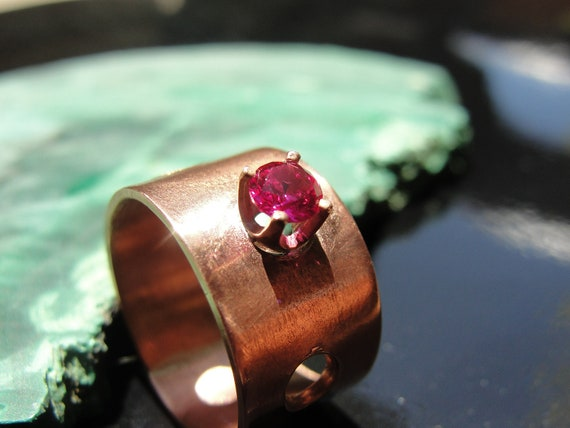 Ruby Copper Art Ring - Lab-Grown Ruby / Wide Copper Band Ring / Ruby Gemstone Copper Ring / One Only Size 6