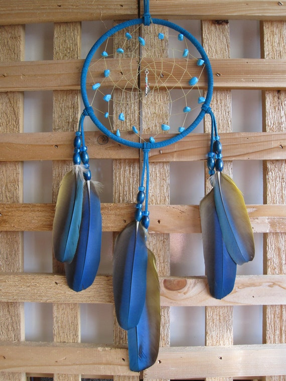 Turquoise Suede Dream Catcher with Macaw Parrot Wing Feathers