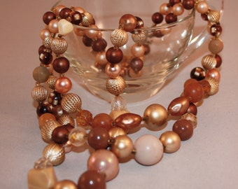 Vintage necklace - three strand brown and gold tone beads