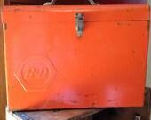 Huge Neat Looking Orange Metal Storage Box