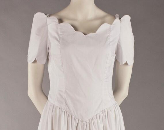 Sweet as Sugar: Scalloped edge short sleeve white cotton dress