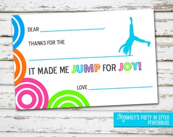 INSTANT DOWNLOAD - Trampoline or Bounce - Fill in 4x6 Thank You Cards