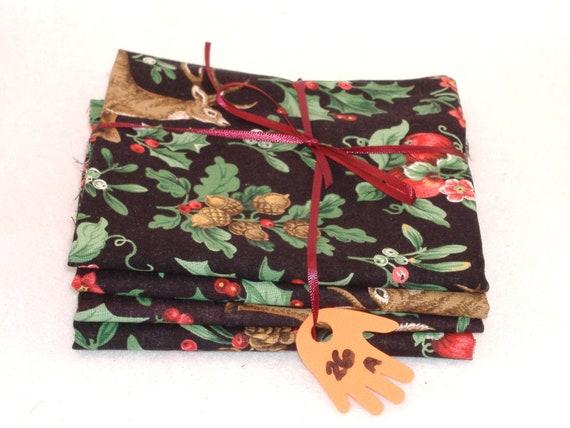 Fat Quarters - Matched Woodland Christmas Themed Cotton - 4 Panel Set, No. 26 - DESTASH