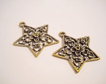Star Pendants Antiqued Bronze Star Charms 5 Point Star Bronze Charms Bronze Pendants WHOLESALE Charms 25 pieces