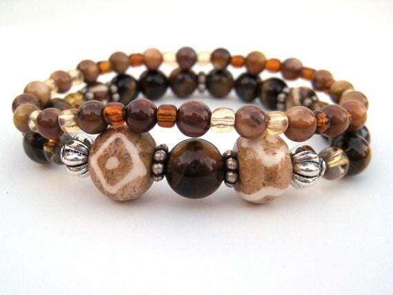 OOAK Bohemian beaded stretch bracelet set