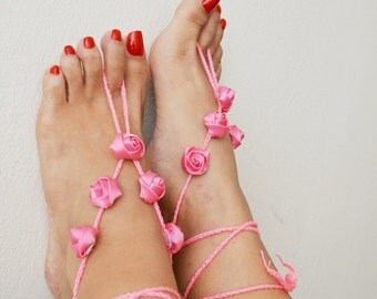 Pink ribbon flower Beach wedding barefoot sandals, Toe thong Bottomless shoes, Foot jewelry,Wedding Shoes,bellydance