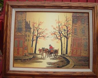 Vintage L.Ryan Print On Canvas Oil Painting Folk Art