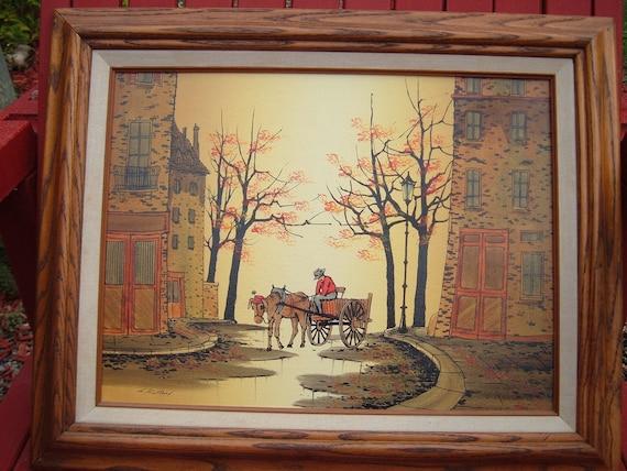 Vintage L Ryan Print On Canvas Oil Painting Folk Art