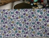 1930s Reproduction Cotton Fabric Fat Quarter Aunt Grace Scrap Bag 2004 White with Purple and Green Flowers and Dots