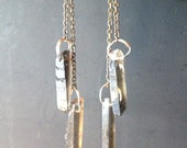 Raw Smoky Quartz Crystal Points and Chains Chandalier Earrings