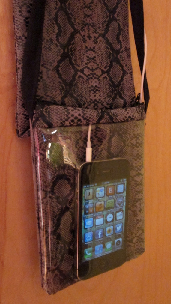 "Headphone DeTangler iPhone/Droid Purse ""SmartPurse"" Water-Resistant (Faux Snakeskin)"