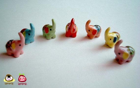 RESERVED for Amy -- Custom Little Ceramic Elephants