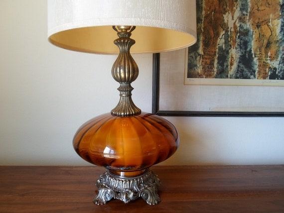 Vintage 1971 L&LWMC  Hand Blown Orange Glass Table Lamp And Shade Antique Brass Night Light  Retro  Lamp  Lighting  Mid Century Modern