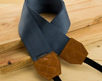 Camera Strap - Shocking Navy Blue for DSLR and Mirrorless with Brown Tag (Navy Blue) Gift for him