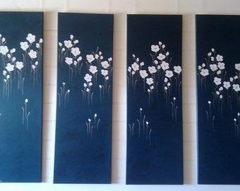"""Naomi Crowther original painting """"White Poppies on Metallic Teal Blue"""" Elegant large 4 Panel painting."""