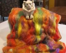 HALLOWEEN 4.0 oz , fiber art batt for spinning, fiber art, spinning fiber, textured bling batt, wool batt, Angelina fiber, spinning batt