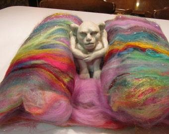 BOHEMIAN RHAPSODY 4.0 oz, spinning fiber, fiber art batt, sari silk, bling batt, Angelina, doll hair, fiber batt