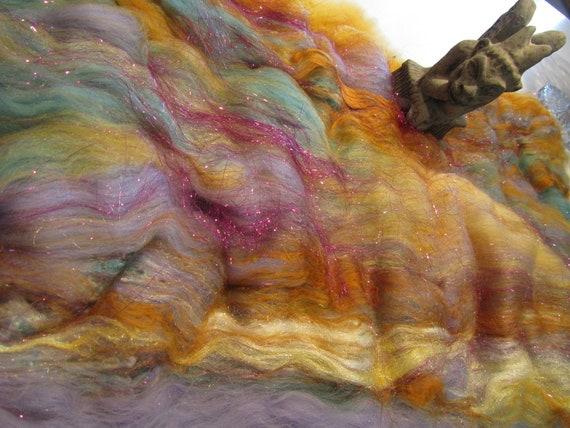 ROMEO and JULIET 4.0 oz  fiber art batt for spinning, wool batt, art fiber,felting fiber, textured bling batt, angelina fiber, roving