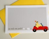 French greeting cards - Set of 4 cards 3.5 x 5.5in - blank card - chicken - car - sunglasses - red - yellow - gray - grey - funny