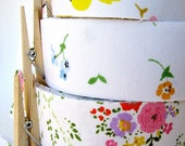 handmade floral fabric tape made from vintage linens - for craft wrap packaging wedding supply
