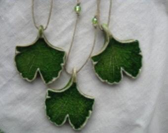 Ginkgo Leaf Pendant, Botanical Jewelry, Green Ginkgo, Aromatherapy Jewelry, Ginkgo Necklace, Ginkgo Jewelry, Ceramic Zen Jewelry