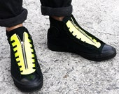 Hollywood Heartbreaker-Hand made DIY Converse Chuck Taylor Zip Tongue-Neon Leather(not including shoes)