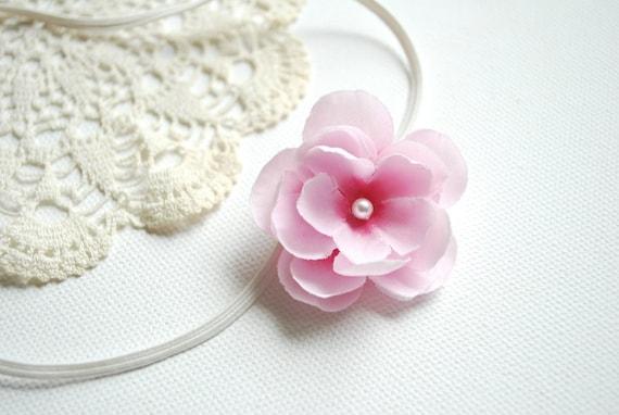 Cute cherry blossom on a skinny elastic headband-Newborn,baby photography prop,flower girl-Pink flower