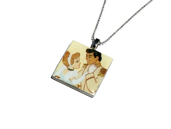 Cinderella Pendant Necklace, Upcycled, Vintage Story Book