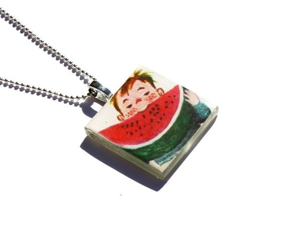 Watermelon Pendant Necklace, Little Golden Book, Upcycled, Vintage
