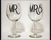 Hipster Mr and Mrs Wine Glass Set Wedding, Couple, Anniversary