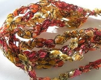 Orange, Yellow, and Red Crocheted Ladder Ribbon Bracelet