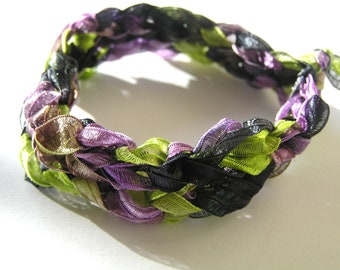 Crocheted Purple, Lime Green, & Black Ribbon Bracelet
