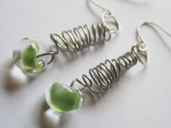 Steel Spring and Spring Green Teardrop Glass Bead Accented Earrings