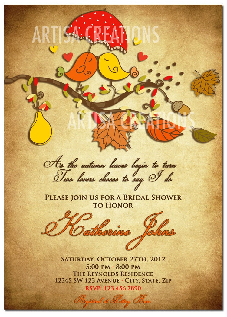 fall bridal shower invitation fall love birds bridal shower