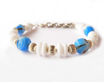 Handmade bracelet with sky blue and white glass beads. ooak made in Italy