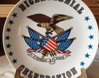 Reduced/ A Very Patriotic Looking Vintage 70's Bicentennial Celebration Plate with Eagle