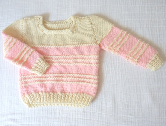Vintage baby sweater, 18 months. Handmade. Pink and cream wool.